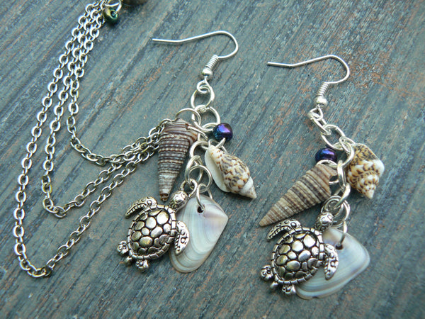 sea turtle and shell chained  ear cuff  SET sea turtle seashells cuff in beach mermaid boho gypsy hippie hipster beach and fantasy style