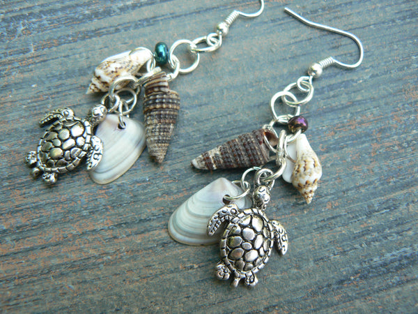 sea turtle and shell earrings sea turtle seashells earrings in beach mermaid cosplay boho gypsy hippie hipster beach and fantasy style
