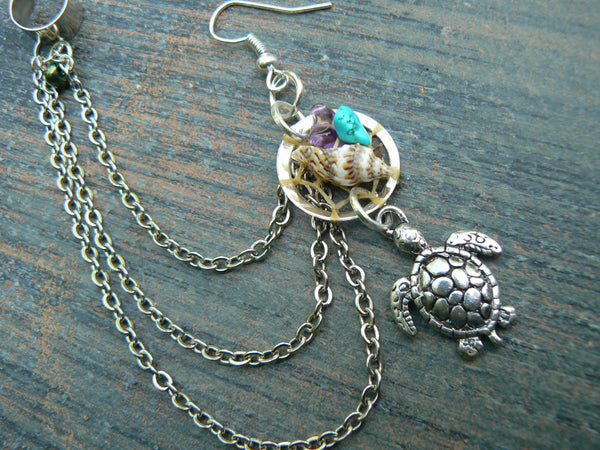 sea turtle dreamcatcher,ONE chained  ear cuff