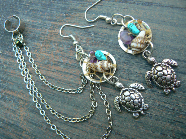 sea turtle dreamcatcher chained  ear cuff  SET sea turtle seashells cuff in beach mermaid boho gypsy hippie hipster beach and fantasy style