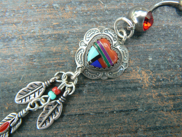 sterling heart belly ring SALE sterling gemstone inlay in native american inspired  tribal belly dancer boho dancer tribal fusionr style