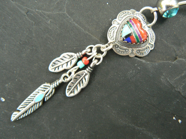 sterling heart belly ring SALE dreamcatcher sterling silver  gemstone inlay turquoise  tribal belly dancer boho dancer tribal fusionr style