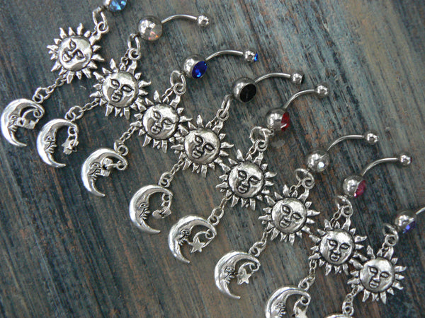 The sun and moon belly ring PICK ONE stars sun moon goddess celestial  boho belly dancer pagen gypsy tribal fusion and hipster style