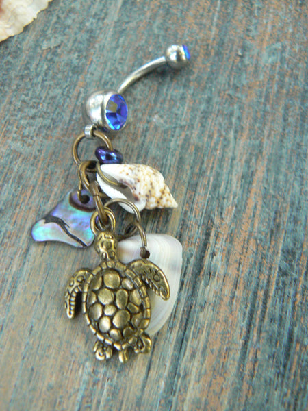 sea turtle belly ring brass sea turtle abalone shells   sea life  in beach boho gypsy hippie belly dancer  beach hipster and fantasy style