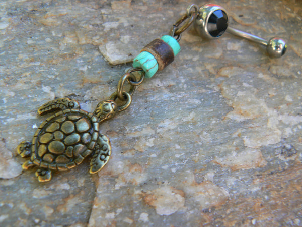 beach sea turtle belly ring in  brass with turquoise and coconut  tone heishi