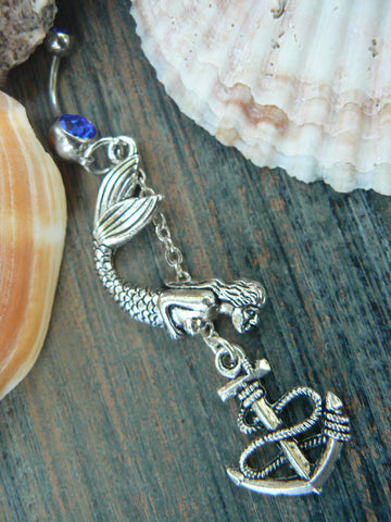 curious little mermaid belly ring  anchor nautical