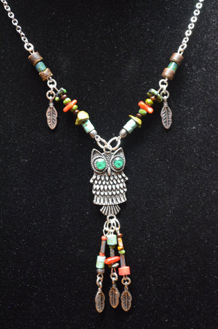 gemstone owl necklace earthtone feathers turquoise coral tribal boho  and hipster style
