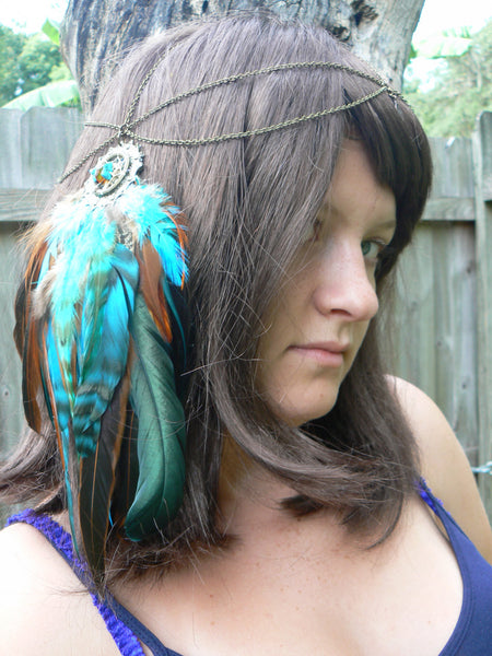 Turquoise feather head chain Amber and turquoise dreamcatcher headdress