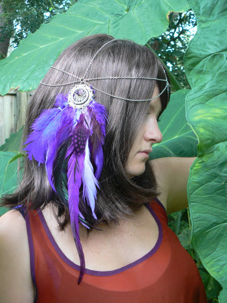 Purple feather head chain dreamcatcher headdress coachella purple tribal fusion