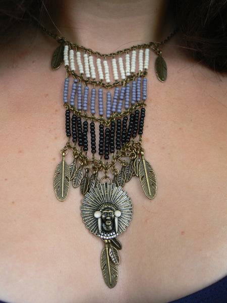 Tribal inspired breastplate necklace