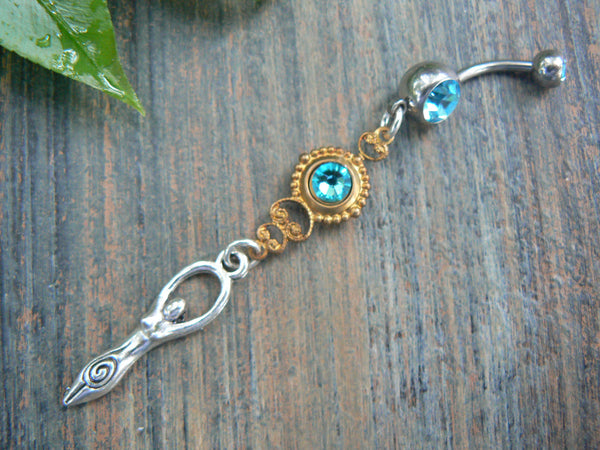 Sky Goddess belly ring  Goddess new age Chakra Yoga meditation ohm belly dancer indie gypsy hippie fantasy  boho and hipster style
