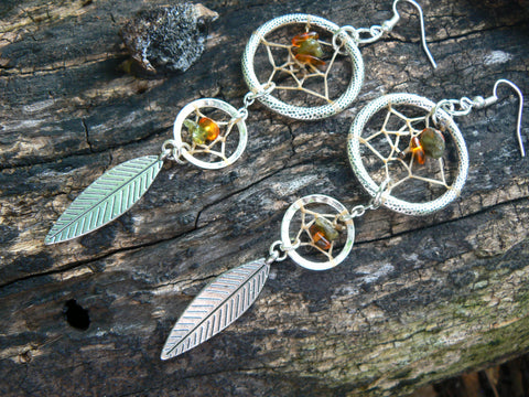 double dreamcatcher earrings tourmaline Amber new age zen boho hipster hippie tribal native american inspired  gypsy style