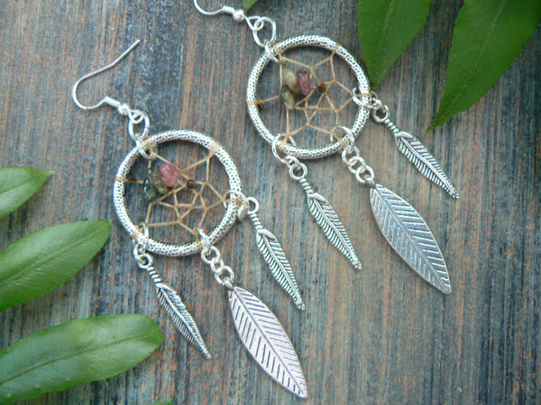 Tourmaline dreamcatcher earrings   tourmaline new age zen boho hipster hippie tribal native american inspired  gypsy style