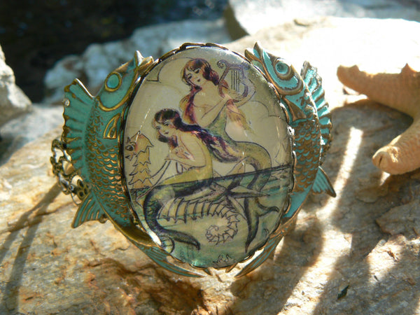 mermaid  bracelet cuff verdigris fish cuff mermaid jewelry