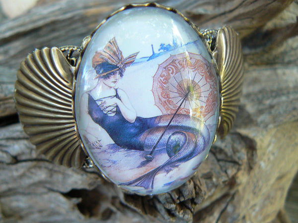 mermaid bracelet cuff  art deco bracelet