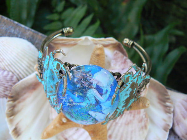 mermaid moon cuff  mermaid moon goddess Cancer bracelet