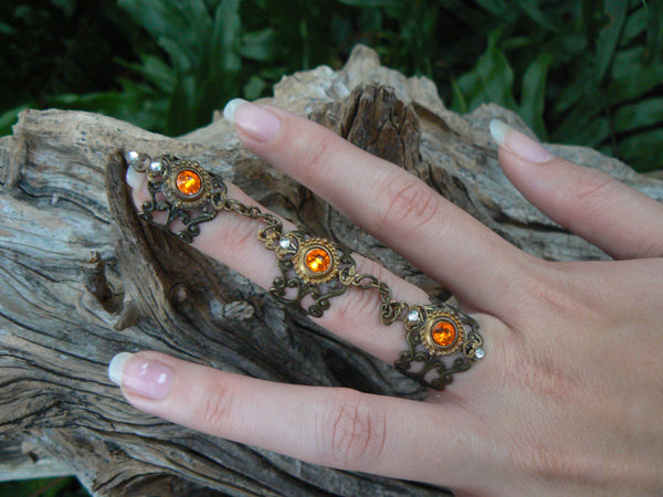 Swarovski triple armor ring nail ring claw ring knuckle ring  steampunk vampire goth victorian moon goddess pagan witch boho gypsy style