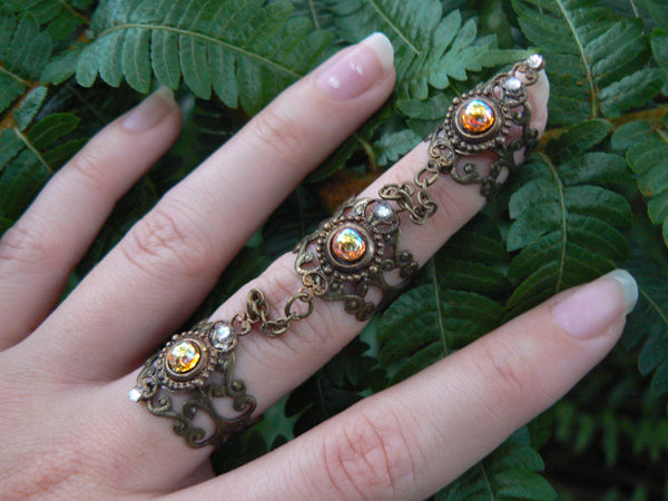 claw ring triple armor ring midi ring topaz ring nail tip knuckle ring elfin ring steampunk ring