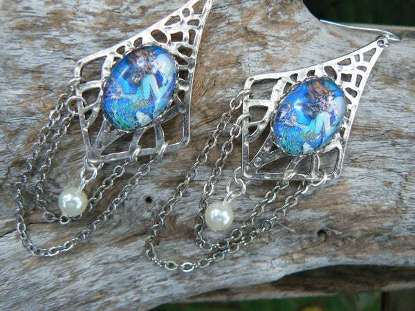 mermaid goddess earrings mermaid moon jewelry siren pearl  mermaid resort wear celestial beach wear high fashion gypsy boho
