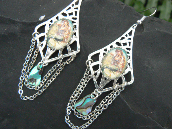 mermaid earrings goddess of the sea mermaid  jewelry siren abalone shell mermaid resort wear celestial beach wear high fashion gypsy boho