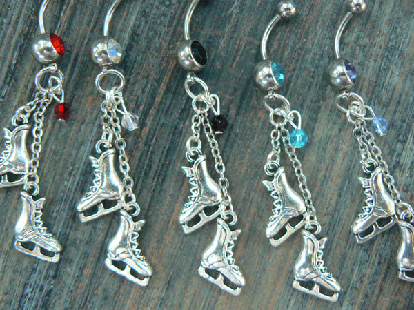 ice skates belly ring PICK ONE  crystal winter hockey frozen ice skating Christmas  fantasy belly dancer  and hipster style