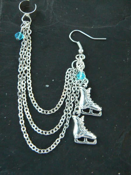 ONE Ice skates ear cuff chained earring ONE Ice skates turquoise crystals  frozen winter Christmas   hipster fantasy belly dancer