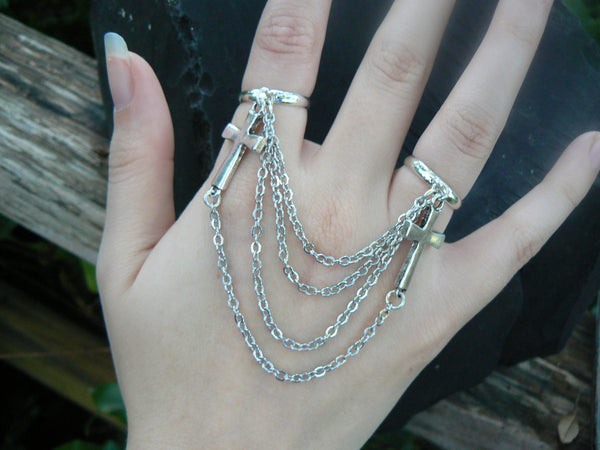 cross double ring  chained cross slave ring  Rocker ring Gothic ring