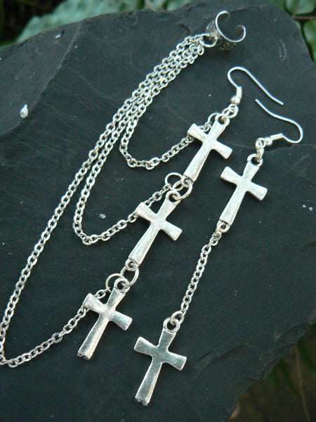triple cross chained ear cuff SET cross  earrings  in boho gypsy hippie hipster goth and rocker style
