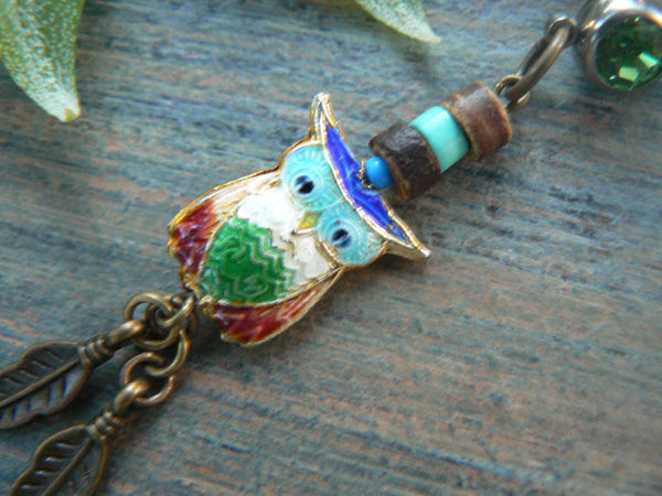owl cloisonne  belly ring green belly owl  owl jewelry in beach boho gypsy hippie belly dancer  fantasy beach hipster and fantasy style