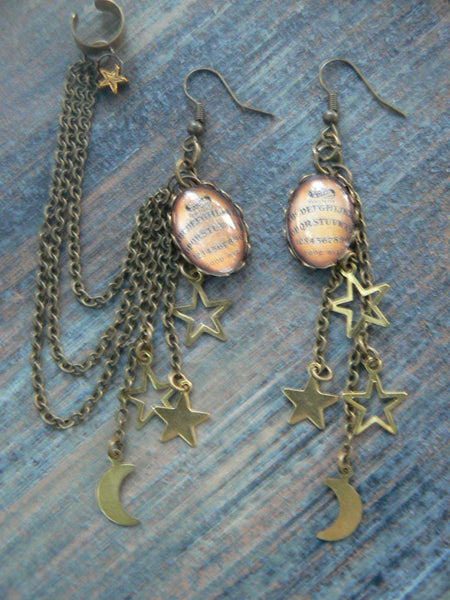 ouija chained ear cuff SET ouiji Galaxy moon stars magic with pagen spirit earrings supernatural in gypsy style
