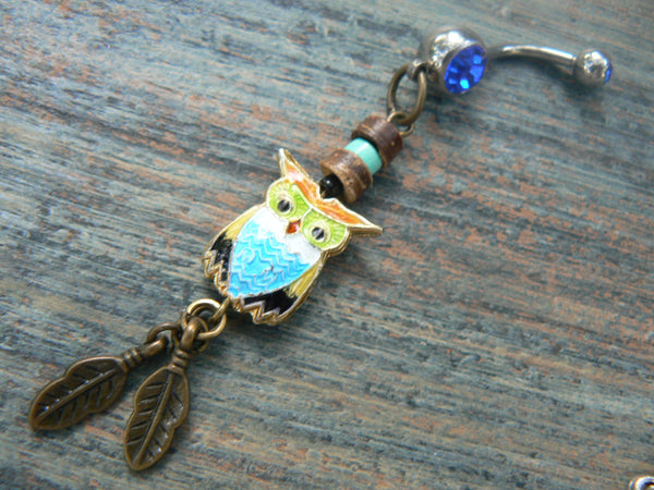 owl cloisonne  belly ring blue belly owl  owl jewelry in beach boho gypsy hippie belly dancer  fantasy beach hipster and fantasy style