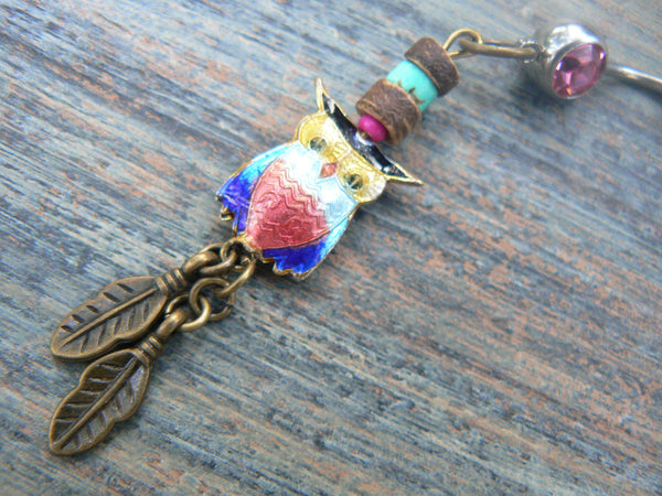 owl cloisonne  belly ring dark pink belly owl  owl jewelry in beach boho gypsy hippie belly dancer  fantasy beach hipster and fantasy style