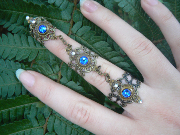claw ring Swarovski Blue triple armor ring nail ring  knuckle ring steampunk ring