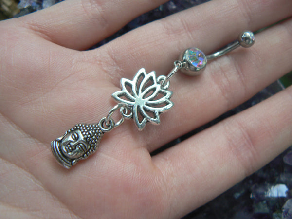 buddha lotus flower belly ring in silver tone
