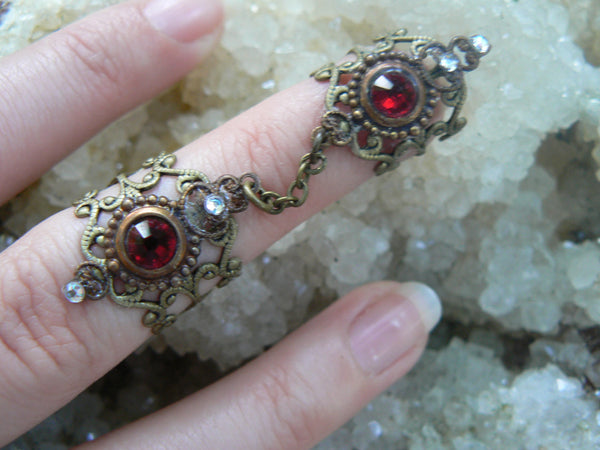double armor ring chained ring statement ring  Swarovski RED  knuckle ring claw ring