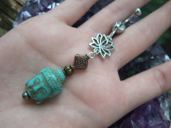 Turquoise buddha  belly ring  with lotus flower