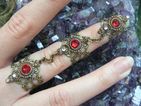 Red armor ring Swarovski statement ring triple claw ring knuckle ring steampunk ring Goth ring