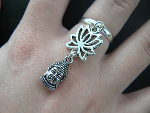 buddha lotus flower ring in silver tone