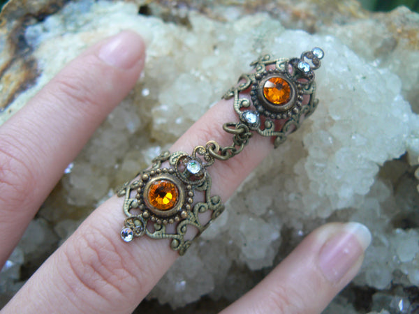 double armor ring chained ring ORANGE Swarovski  knuckle ring claw ring nail tip ring