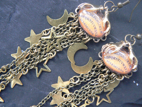 galaxy ouija earrings ouiji Galaxy moon stars magic with pagen spirit earrings supernatural in gypsy style
