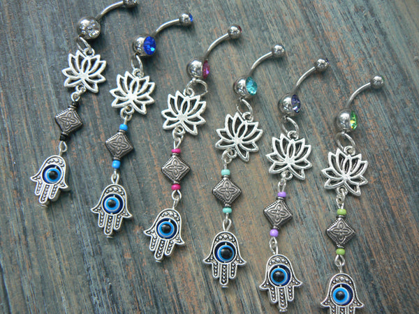 hamsa lotus belly ring  lotus flower  evil eye PICK ONE zen yoga  Moroccan boho  new age gypsy hippie belly dancer beach and hipster style