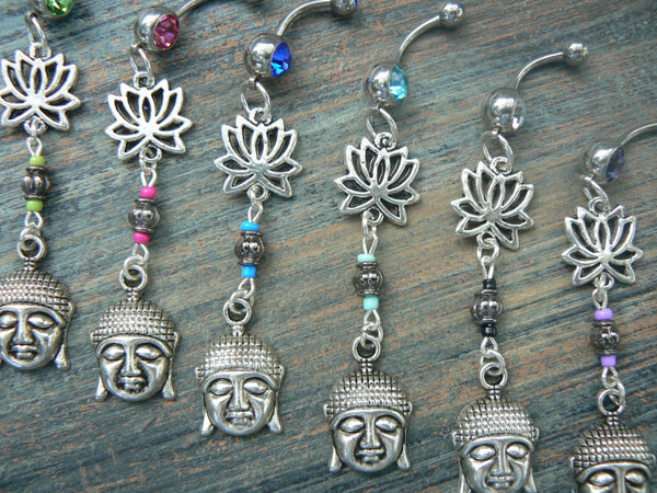 lotus buddha belly ring , lotus flower. PICK ONE ,zen, yoga