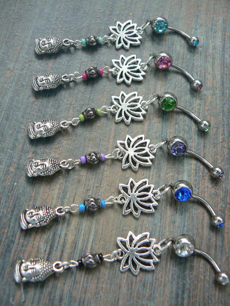 buddha lotus belly rings PICK ONE