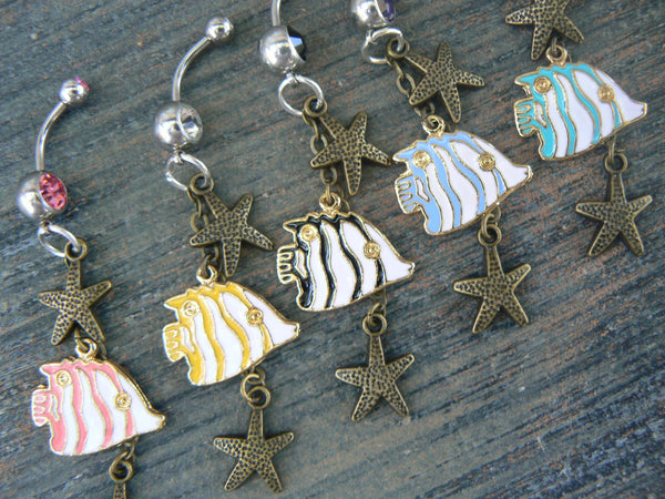 fish and starfish belly ring beach belly ring sea belly ring