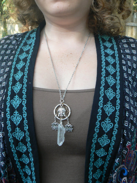 spiritual necklace, lotus buddha necklace, crystal dreamcatcher necklace