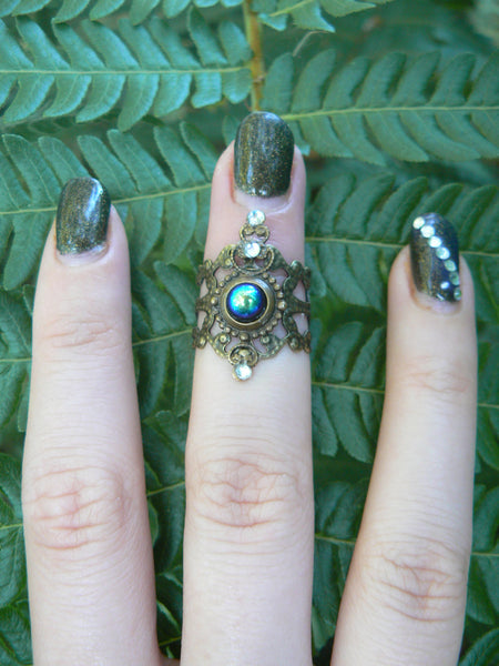 goth armor ring knuckle ring  midi ring nail ring claw ring nail tip ring finger tip ring  vampire  victorian moon goddess pagan boho gypsy