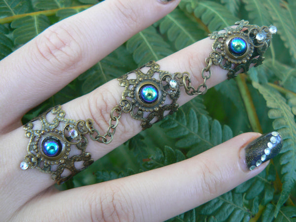 triple armor ring nail ring black claw ring knuckle ring statement ring victorian steampunk moon goddess pagan witch boho gypsy style