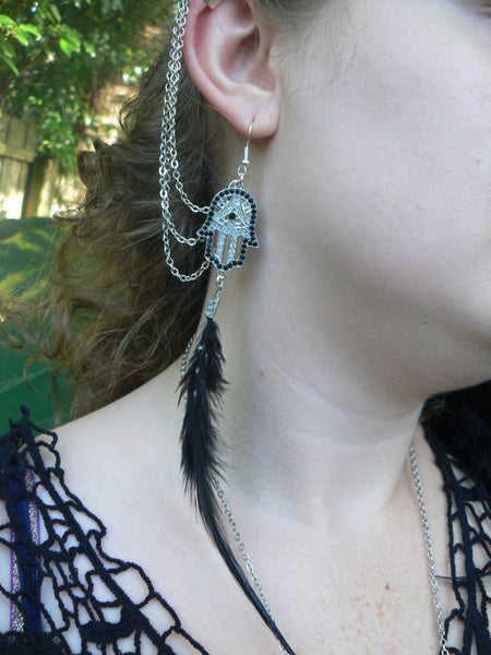 Hamsa feather ear cuff set chained set earrings festival  coachella