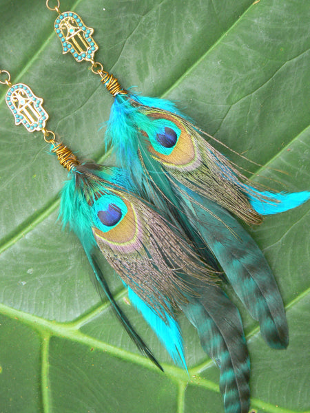 Hamsa feather  earrings festival  coachella earrings peacock earrings Native American inspired  tribal boho belly dancer and hipster style