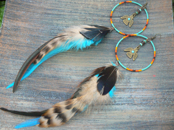 dreamcatcher earrings Thunderbird phoenix coachella festival earrings